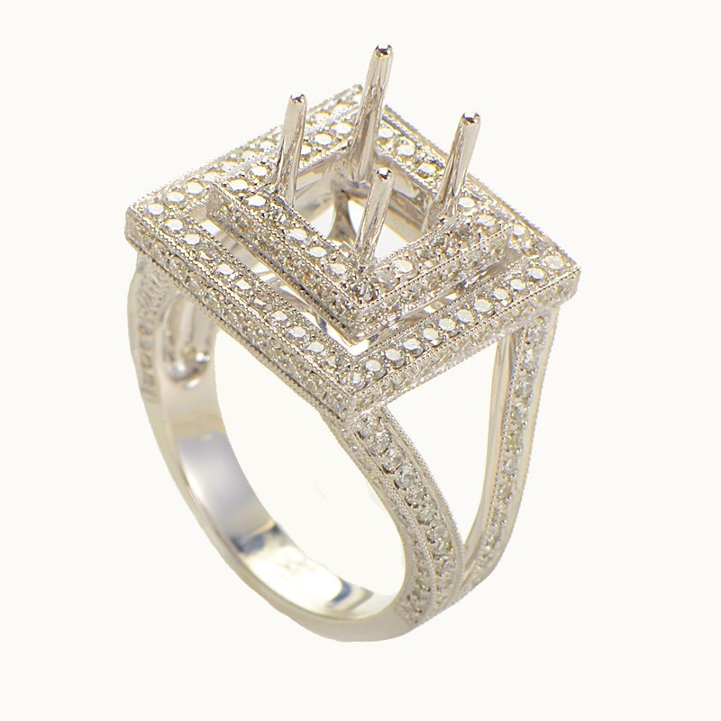 18K White Gold Diamond Pave Square Victorian Engagement Ring ASM-2477