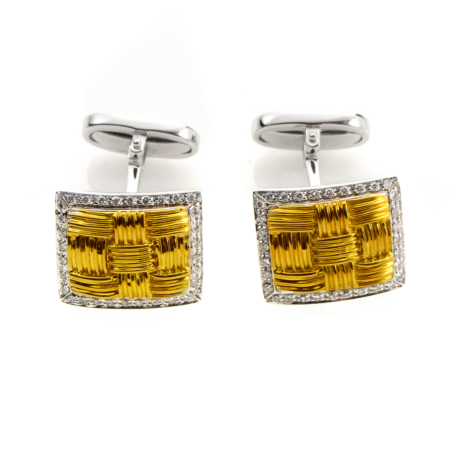 Magnifica Men's 18K Multi-Tone Gold Diamond & Mother of Pearl Cufflinks