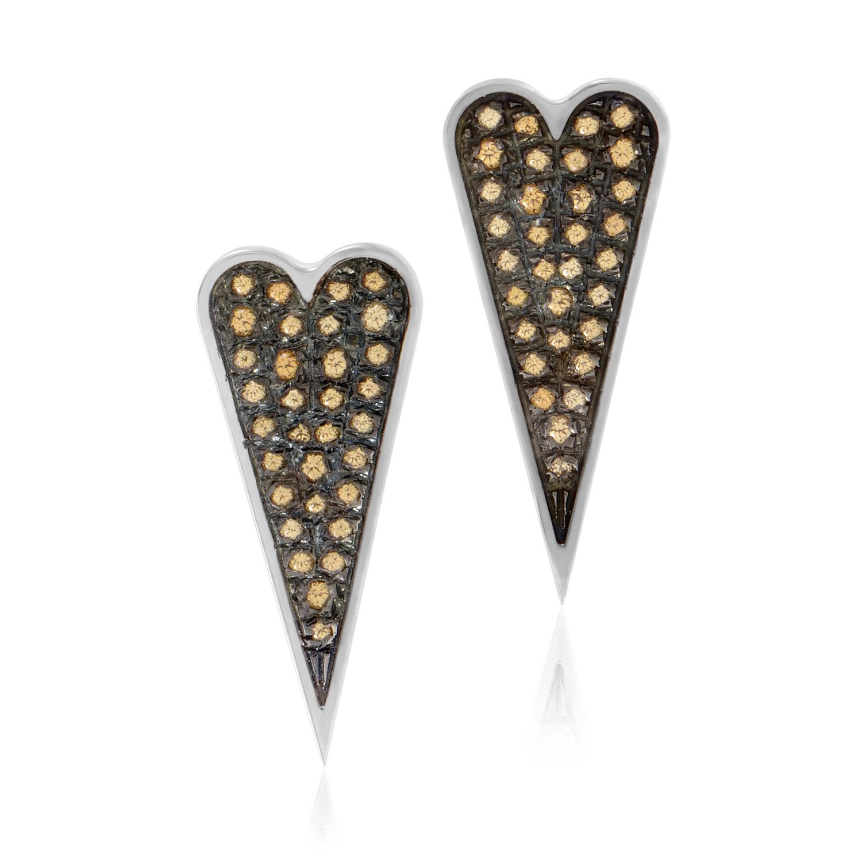 Sterling Sliver & Citrine Glitter Heart Earrings