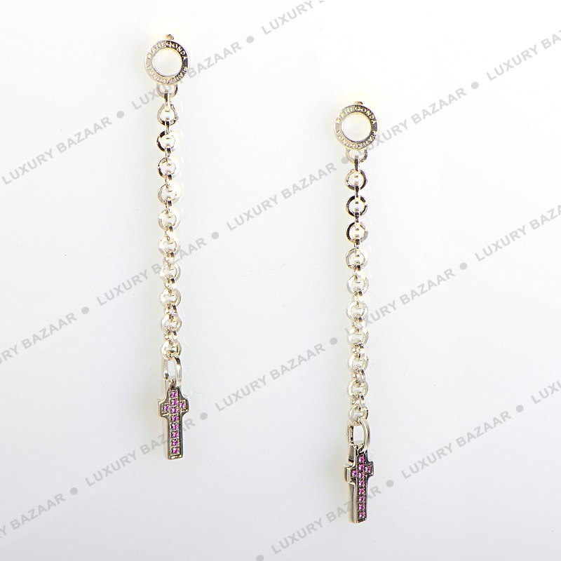 Silver & Ruby Crucifix Earrings