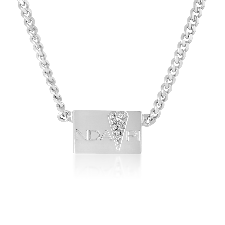 Sterling Silver Glitter Heart Bar Pendant Necklace CA010911