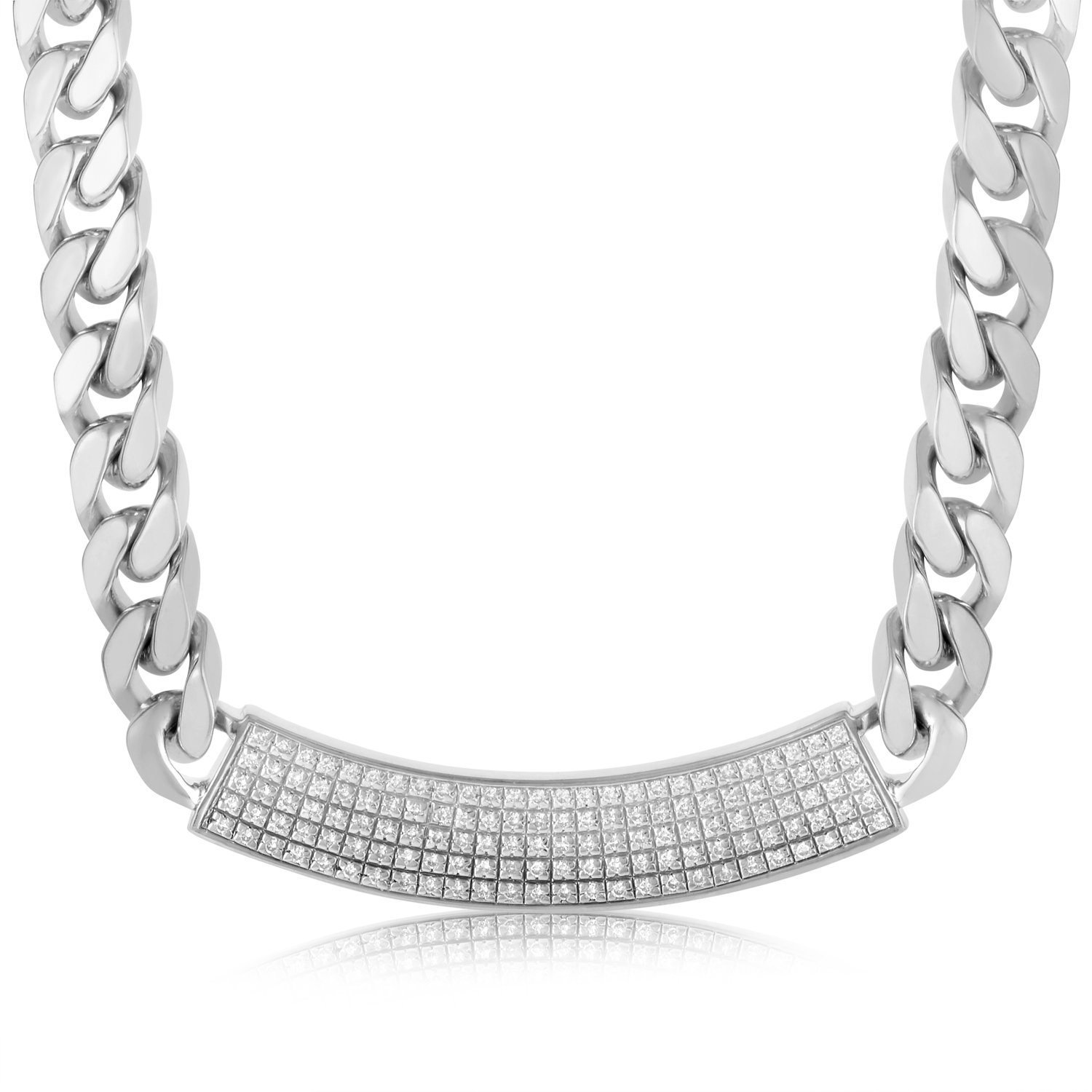 Sterling Silver Heavy Identity Necklace CA010674
