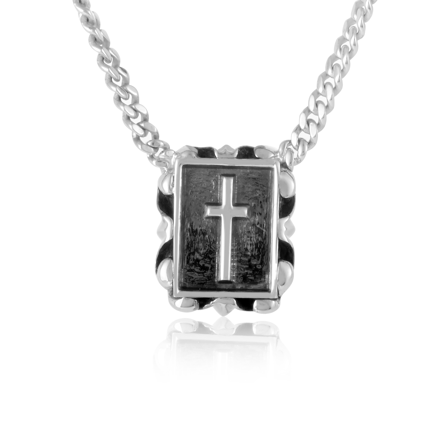 Silver Relief Crucifix Pendant Necklace  CA030952