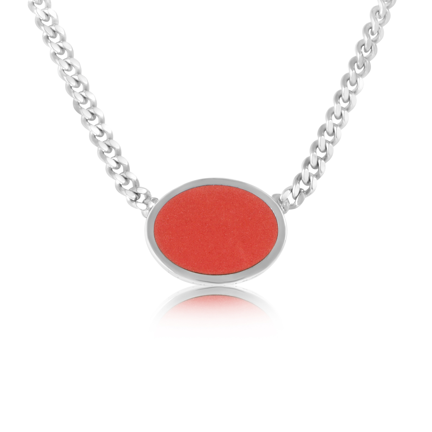 Silver Oval Coral Necklace CA010905/C
