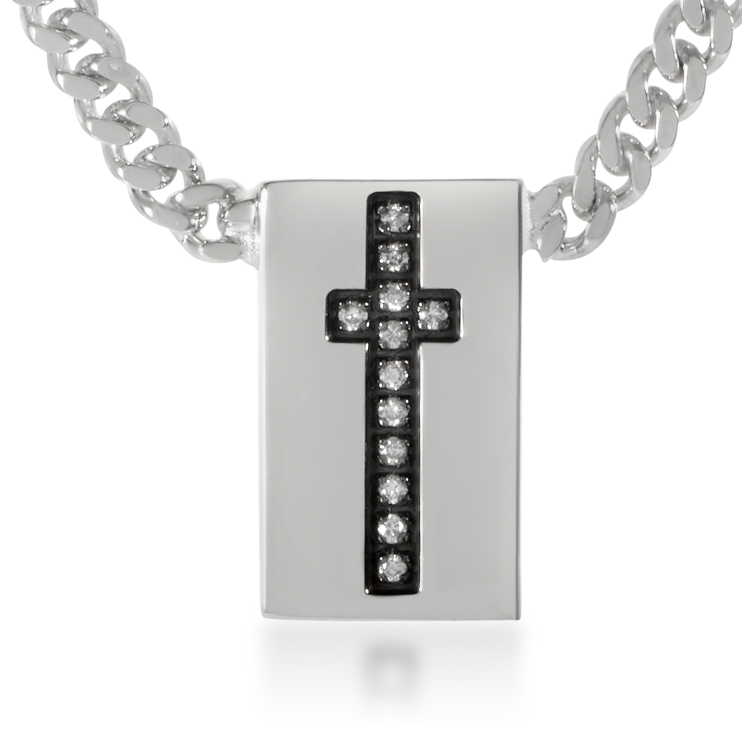 Silver Snake Chain Cross Necklace  CA031008