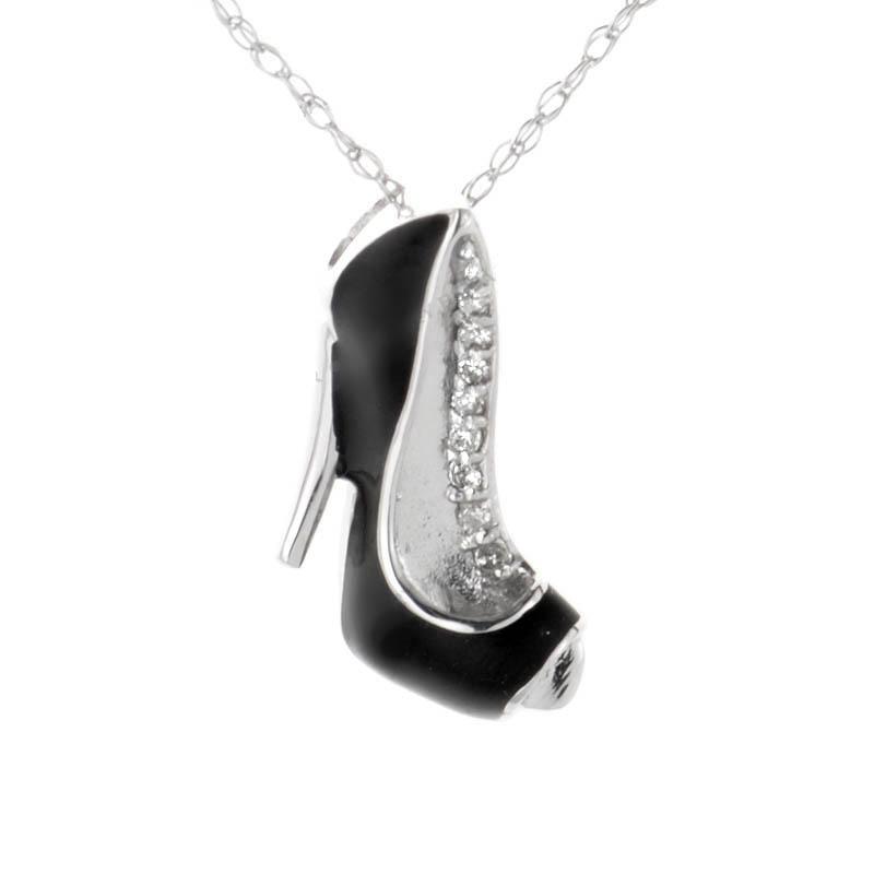 14K White Gold Onyx and Diamond Stiletto Pendant