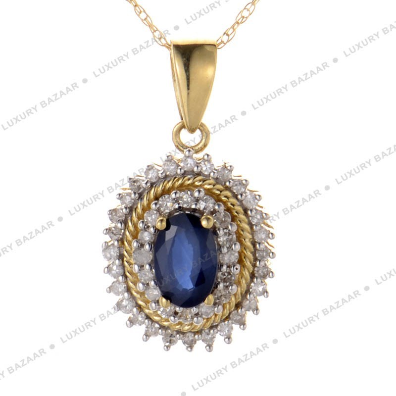 14K Yellow Gold Diamonds and Sapphire Pendant