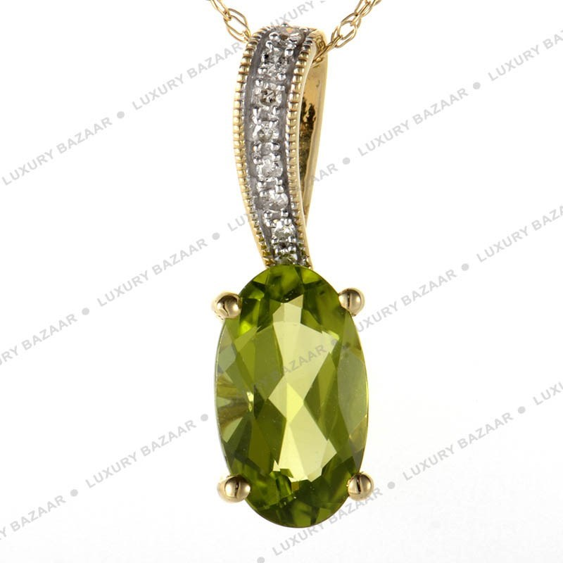 14K Yellow Gold Peridot and Diamonds Chainless Pendant