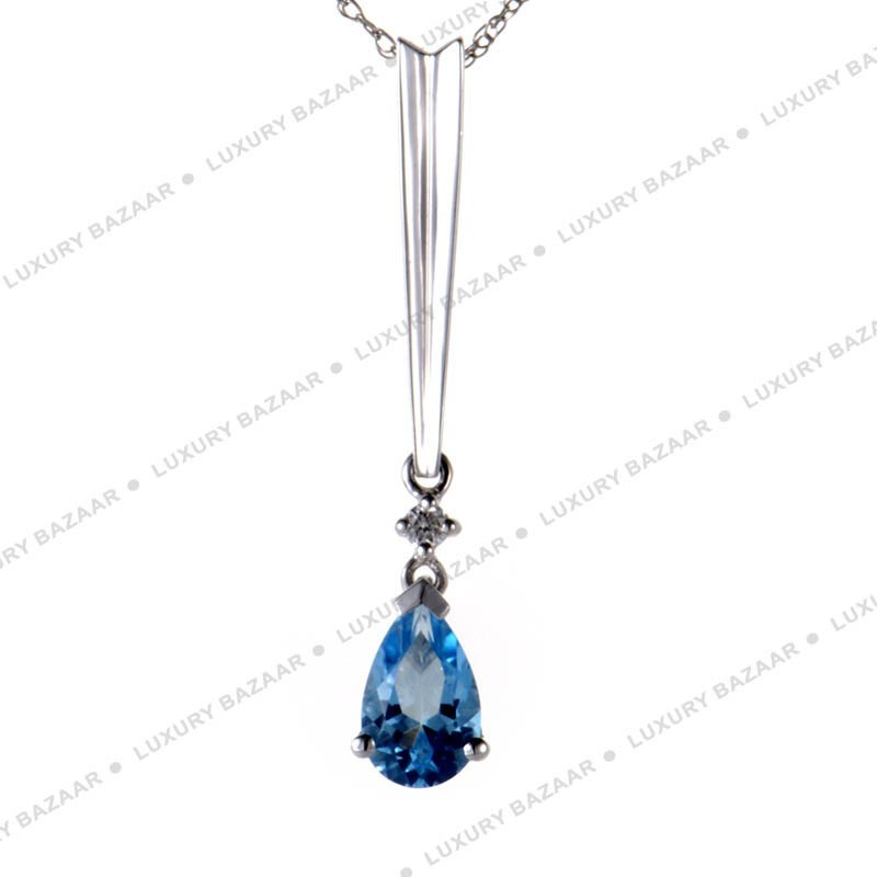 14K White Gold and Topaz Chainless Pendant