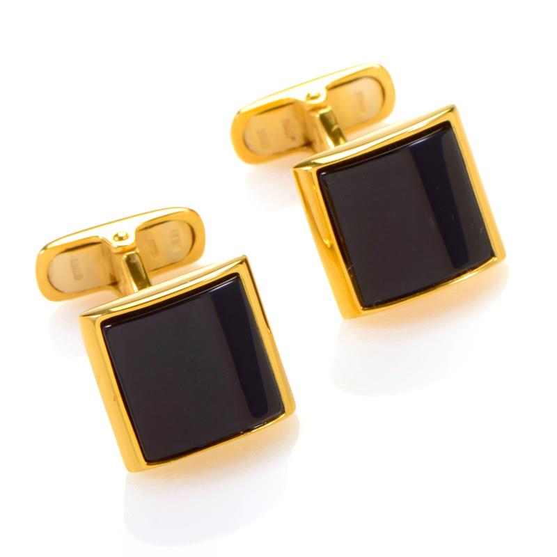 18K Yellow Gold Onyx Cufflinks