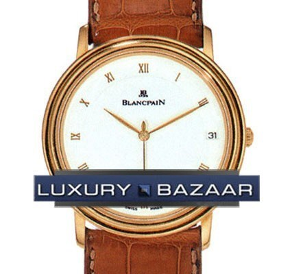 Villeret Ultra-Slim Date (18kt YG / White / Leather)