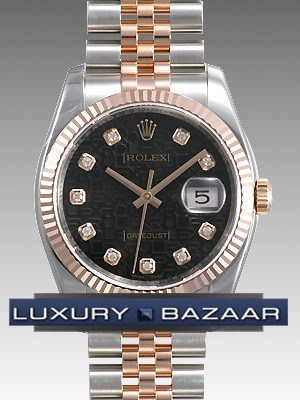 Datejust 116231 (Black Jubilee Dial, Diamond Markers)