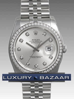 Oyster Perpetual Datejust 36mm Diamond Bezel 116244 sdj