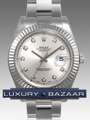 Rolex Datejust (SS-WG/ Silver-Diamond markers /SS)
