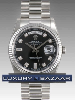 Rolex Oyster perpetual Day-Date (WG/ Black-Diamonds /WG)