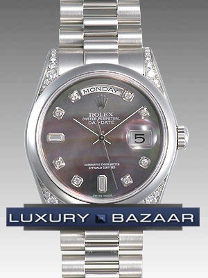 Rolex Oyster perpetual Day-Date (Platinum-Diamond/ Black MOP- diamonds /Platinum)