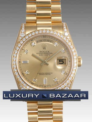 Rolex Oyster perpetual Day-Date (YG-Diamonds/Gold-Diamonds /YG)