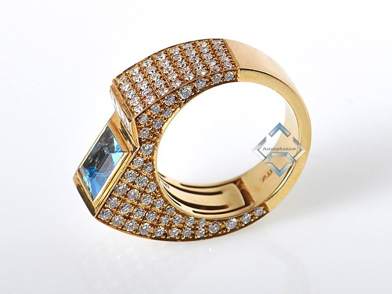 Technomarine Yellow Gold & Diamond Topaz Sculpted Ring