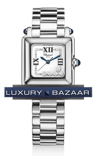 Happy Sport Classic Square 5 Floating Diamonds (SS / White-Diamonds / SS Bracelet)