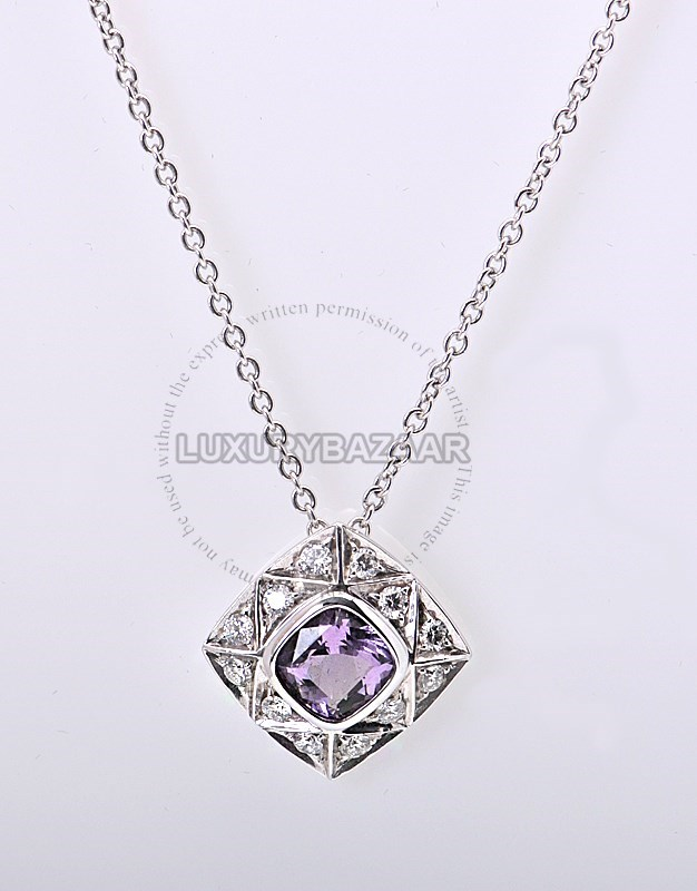 18K White Gold Diamond Amethyst A Cut Necklace and Pendant