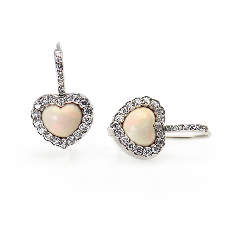 18K White Gold Diamond & Opal Heart Earrings