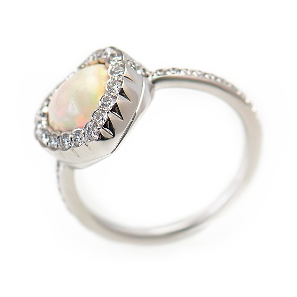 18K White Gold Diamond & Opal Heart Ring