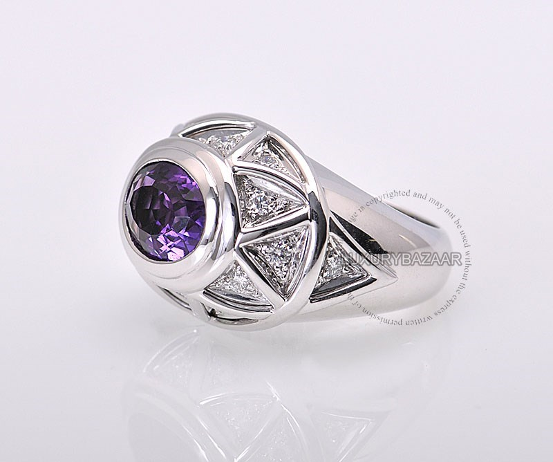 18K White Gold Pave Diamond Amethyst Dome Ring