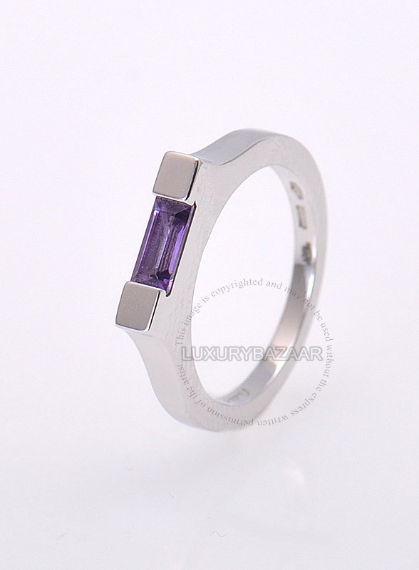 18K White Gold Amethyst Baguette Steeple Ring