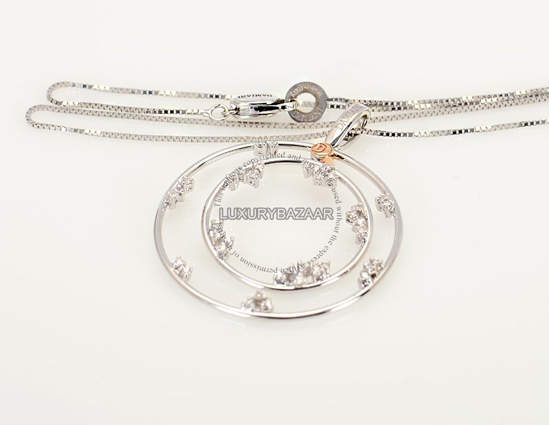 18K White Gold Diamond Double Circle Necklace