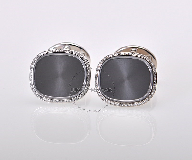 Patek Philippe 18K White Gold Diamond Ellipse Cufflinks