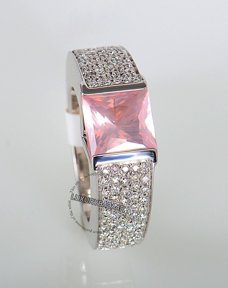 18K White Gold Versace Diamond and Pink Quartz Ring