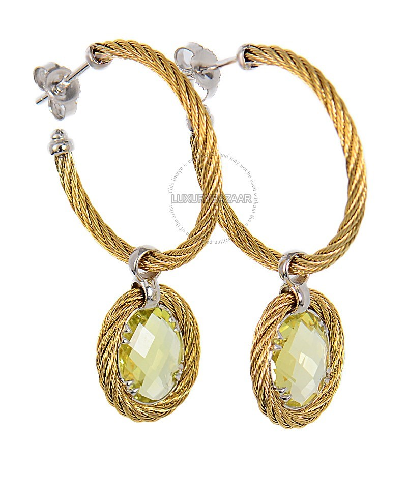 18K White Gold and Yellow PVD Celtic Cable Earrings with Hanging 5.00ct Lemon Citrine