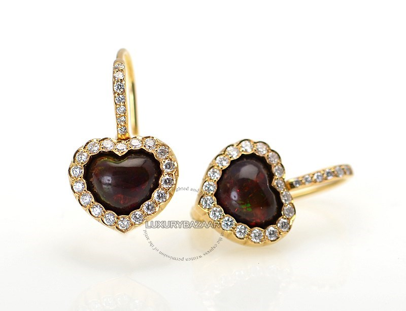 18K Yellow Gold Diamond & Rhodesian Garnet Heart Earrings