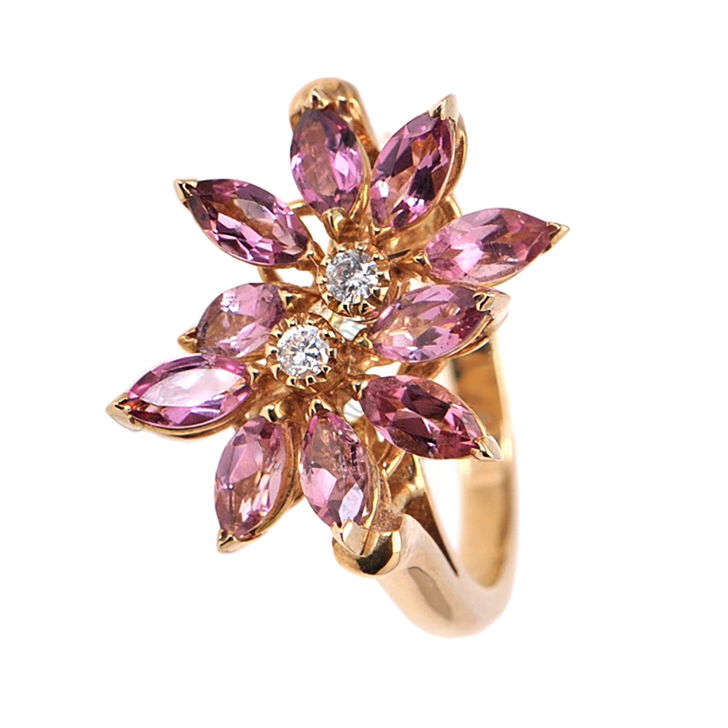 18K Yellow Gold Diamond Pink Topaz Daisy Ring