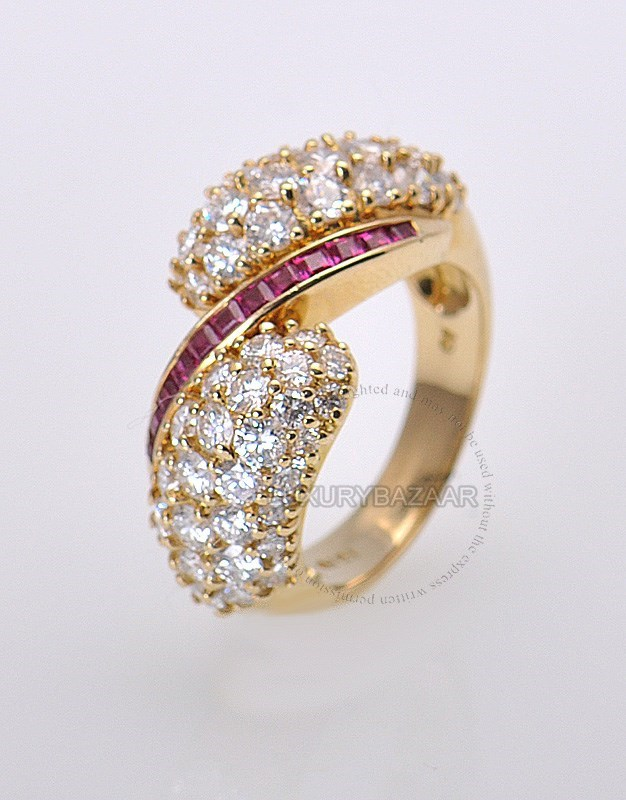 18K Yellow Gold Diamond Ruby Split Ring