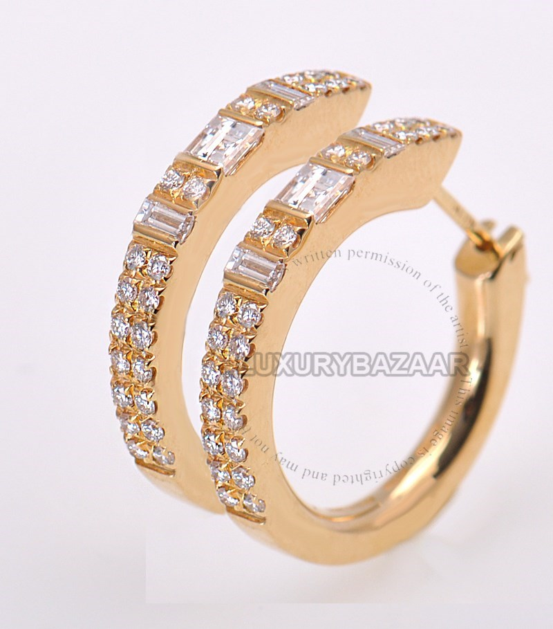 18K Yellow Gold Diamond Stripes Medium Hoop Earrings