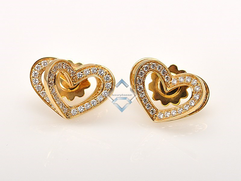 Beautiful 18K Yellow Gold Diamond Heart Earrings