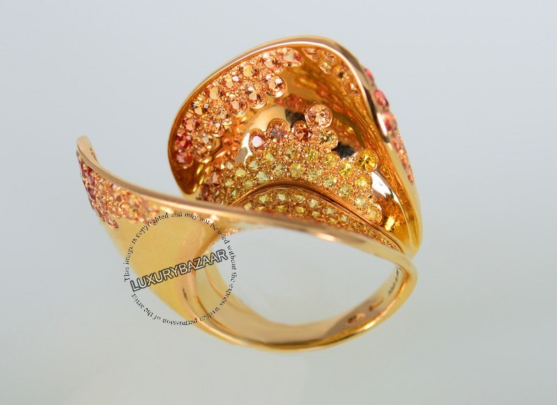 18K Yellow Gold Versace Ghea Collection Yellow Sapphires Ring