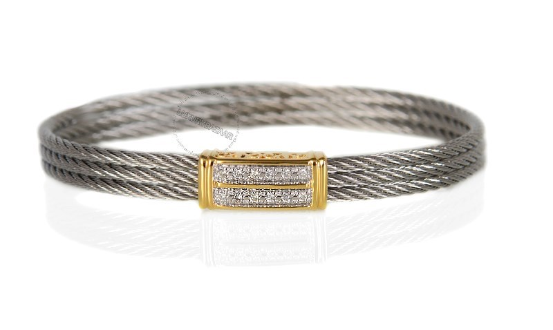 18K Yellow Gold and Stainless Steel Celtic Cable Bracelet with .10 CT White Diamond Encrusted Rectangle