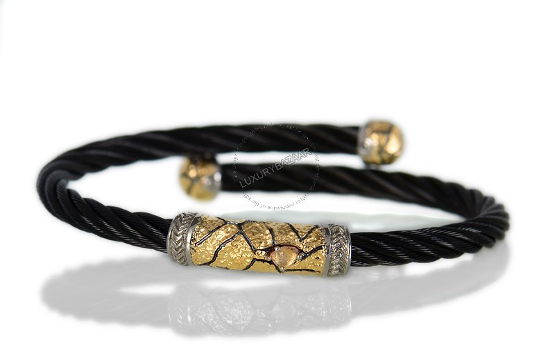 18K Yellow Gold and Stainless Steel Celtic Noir Cable Bracelet with Stainless Steel and 18K Yellow Gold Accents