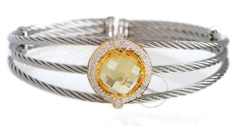 Stainless Steel Celtic Cable Bracelet with Round Yellow Citrine Stone in a 18K Yellow Gold Setting