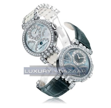 Harry Winston Premier Excenter Chronograph Set (WG-Diamonds/ MOP-Diamonds/Leather)