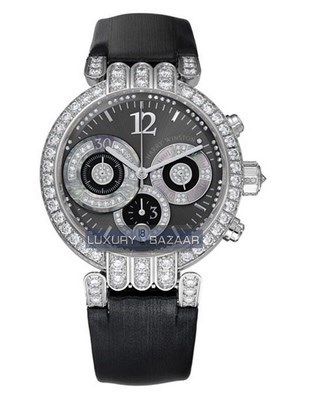Premier Large Chronograph (WG-Diamonds / Anthracite / Strap)