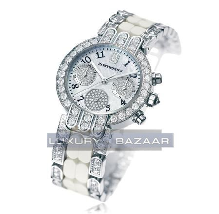 Harry Winston Premier Excenter Chronograph Ladies (RG-Diamonds/ White-Diamonds/Diamond Bracelet)