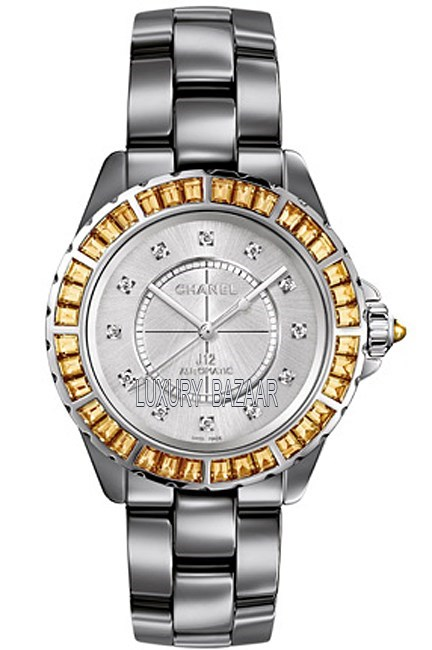 J12 Chromatic Cognac Sapphire Baguettes Diamonds 38 mm