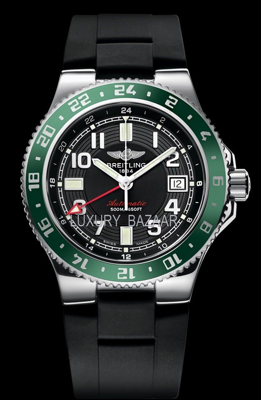 Superocean GMT Volcano Black-Green Rubber Strap