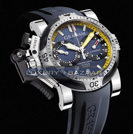 Graham Chronofighter Oversize Diver/Date Tech Seal Scarab (SS/ Blue / Rubber)