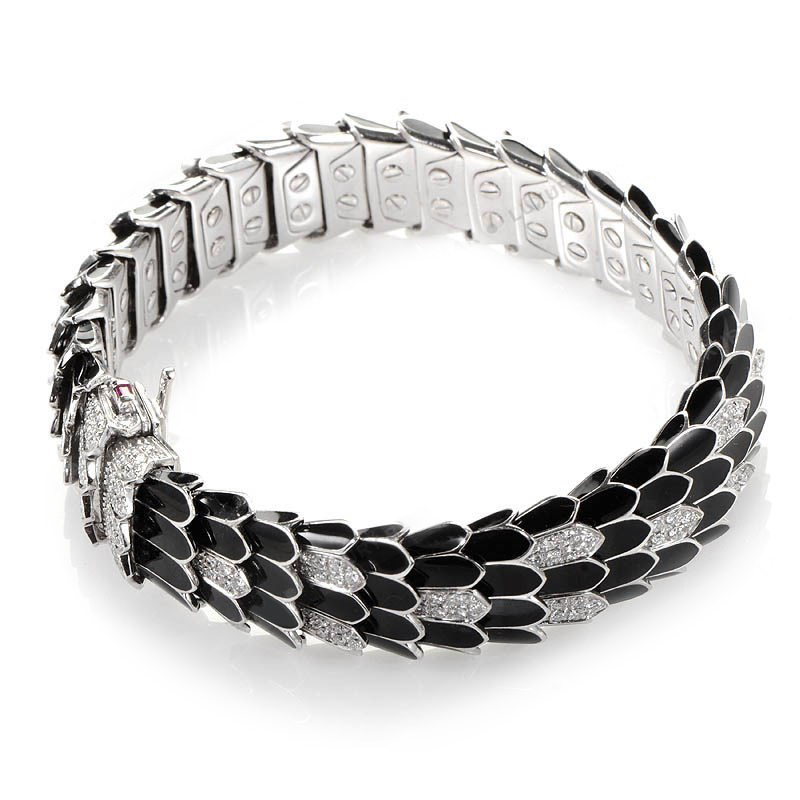 18K White Gold Black Cobra Bracelet