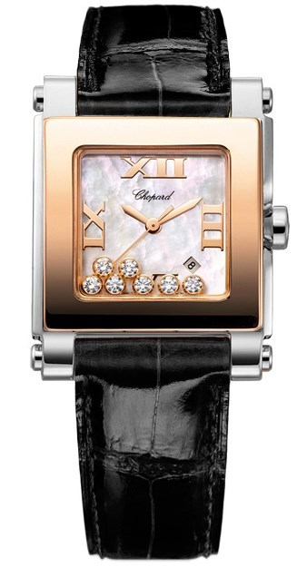 Happy Sport II Square Medium (SS-RG / MOP-Diamonds / Leather Strap)