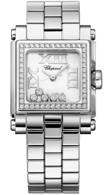 Happy Sport II Square Small (SS-Diamonds / White-Diamonds / Stainless Steel Bracelet)